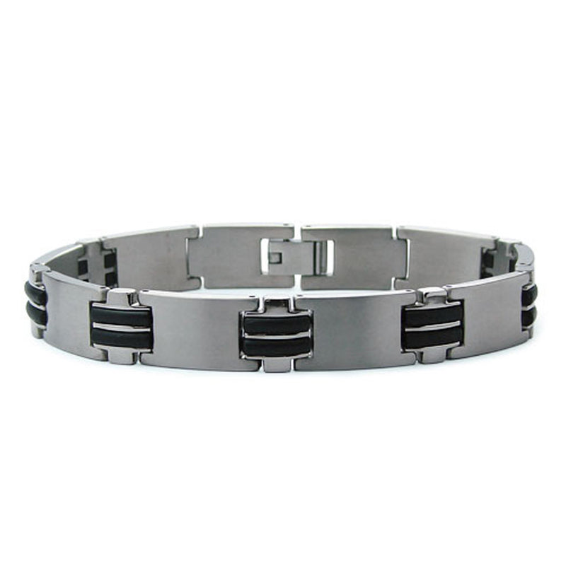 Two-Tone Titanium Rubber Accent Connector Link Bracelet - Tioneer