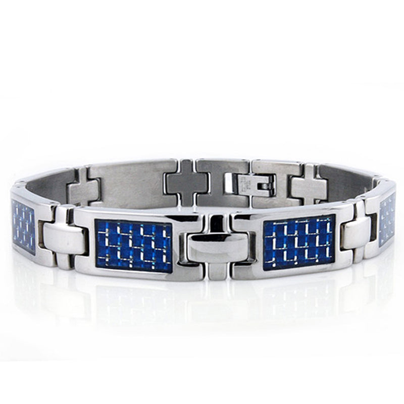 Titanium Checkered Carbon Fiber Inlay Link Bracelet - Tioneer
