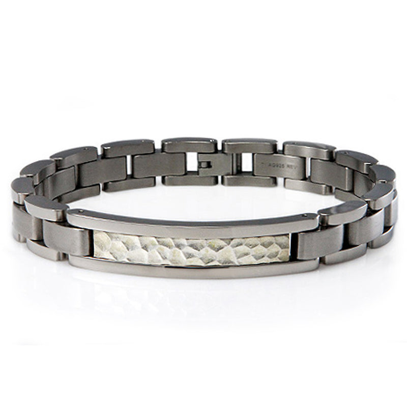 Titanium Hammered Silver Inlay Style ID Link Bracelet - Tioneer