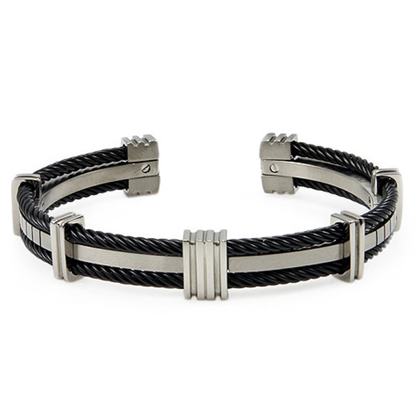 Titanium Dual Black Cable Bangle Bracelet - Tioneer
