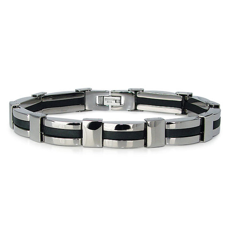 Two-Tone High Polish Titanium Black Accent Strip Link Bracelet - Tioneer