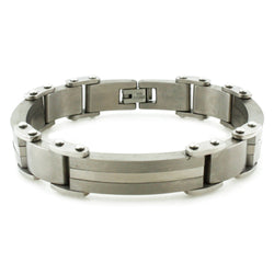 Titanium Center Strip Silver Accent Link Bracelet - Tioneer