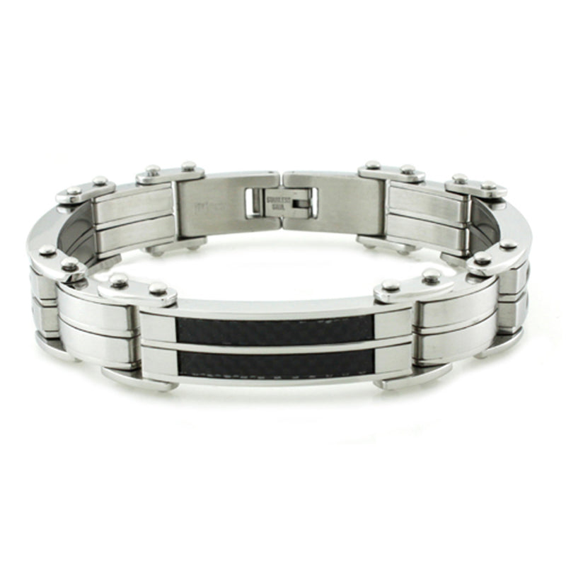 Titanium Dual Strip Black Carbon Fiber Inlay Link Bracelet - Tioneer