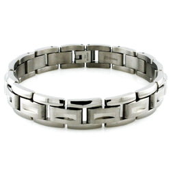 Titanium Indented Screw Accent Link Bracelet - Tioneer