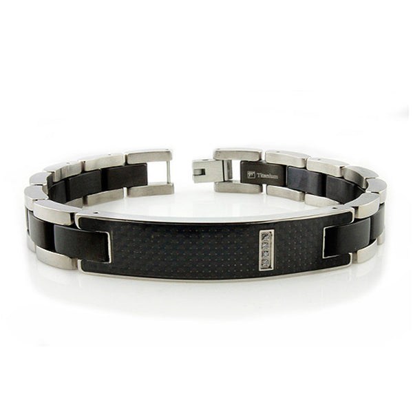 Two-Tone Titanium Cubic Zirconia Carbon Fiber Inlay ID Link Bracelet - Tioneer