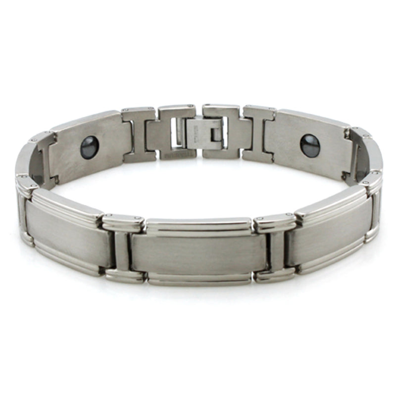Titanium Satin Center Strip Magnetic Insert Link Bracelet - Tioneer