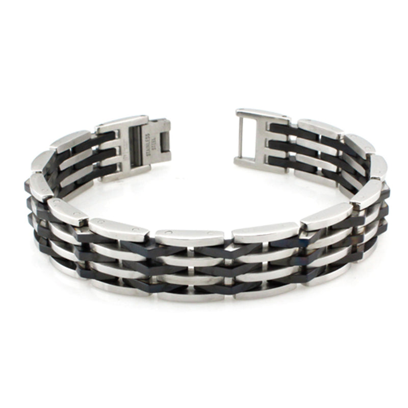 Stainless Steel Black Rubber Accent Tiered Biker Link Bracelet - Tioneer