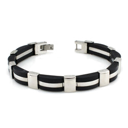 Two-Tone Stainless Steel Rubber Link Bracelet - Tioneer