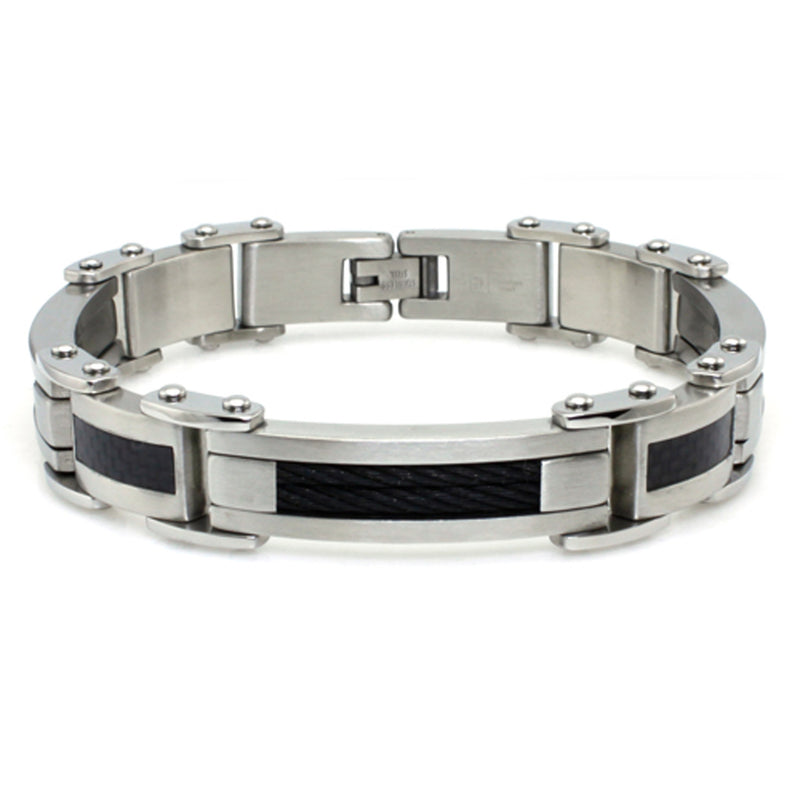 Stainless Steel Black Carbon Fiber Black Cable Inlay Biker Link Bracelet - Tioneer