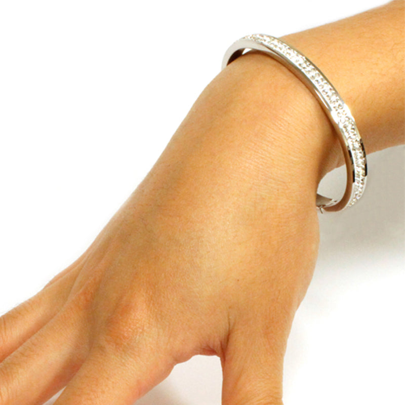 Stainless Steel Channel Cubic Zirconia Eternity Oval Bangle Bracelet - Tioneer