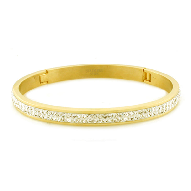 Gold Plated Stainless Steel Channel Cubic Zirconia Eternity Oval Bangle Bracelet - Tioneer