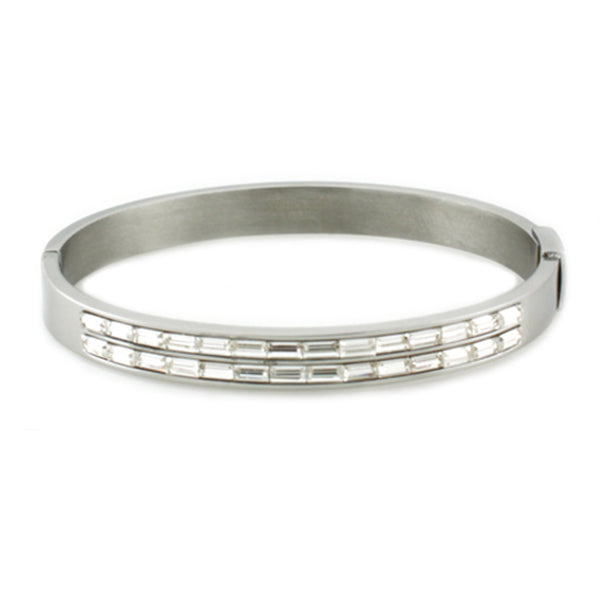 Stainless Steel Baguette Cubic Zirconia Channel Oval Bangle Bracelet - Tioneer