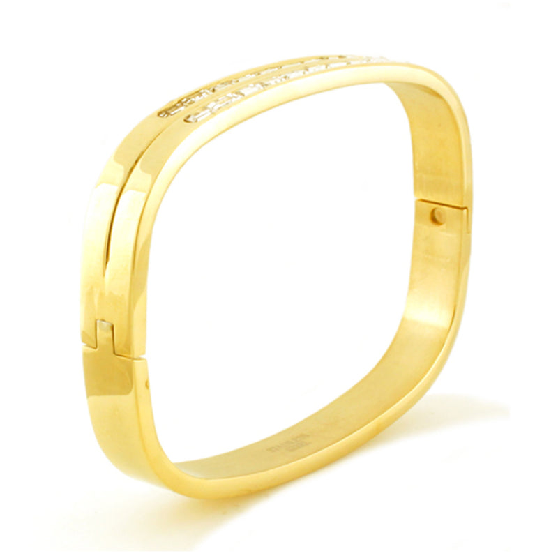 Gold Plated Stainless Steel Baguette CZ Channel Rectangular Bangle Bracelet - Tioneer