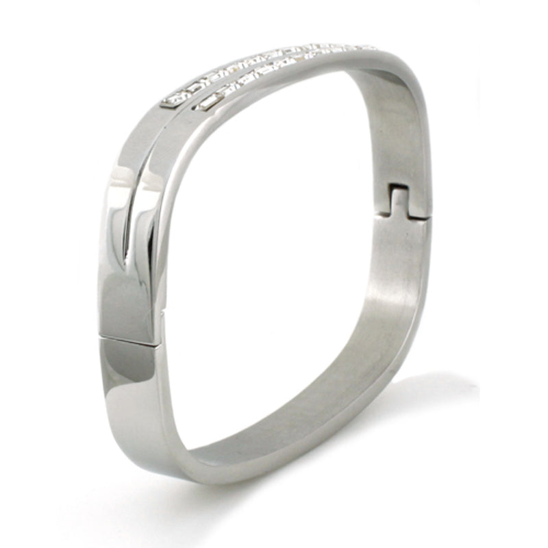 Stainless Steel Baguette CZ Channel Rectangular Bangle Bracelet - Tioneer
