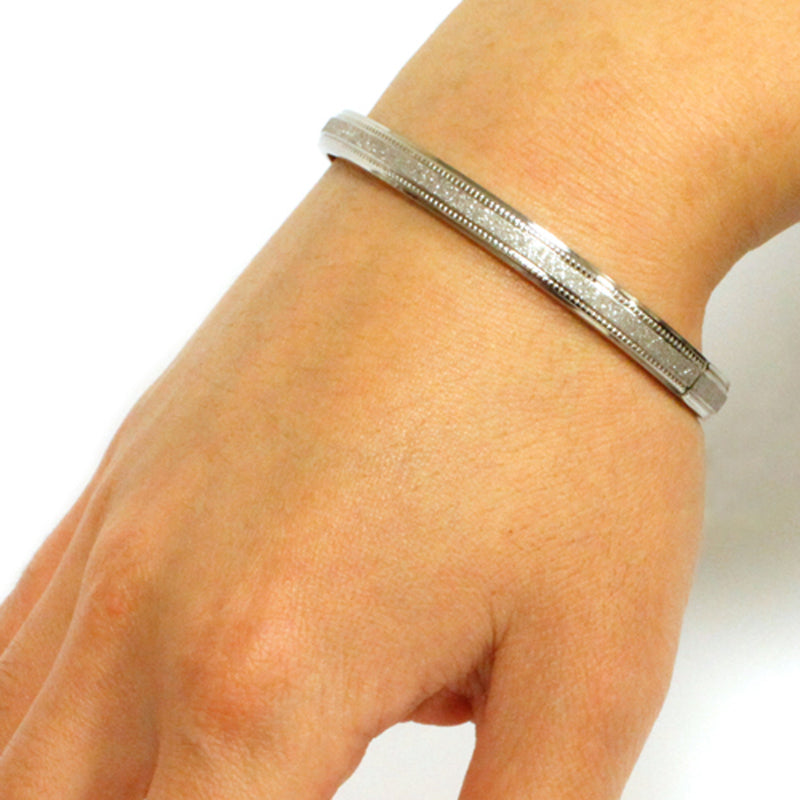 Stainless Steel Stardust Satin Finish Oval Bangle Bracelet - Tioneer