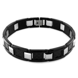 Stainless Steel Carbon Fiber Inlay Tungsten Connector Link Bracelet - Tioneer