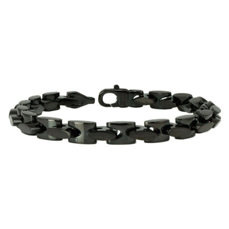 Black Stainless Steel Square Cable Link Bracelet - Tioneer