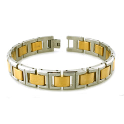 Two-Tone Gold Stainless Steel Gents Link Bracelet - Tioneer