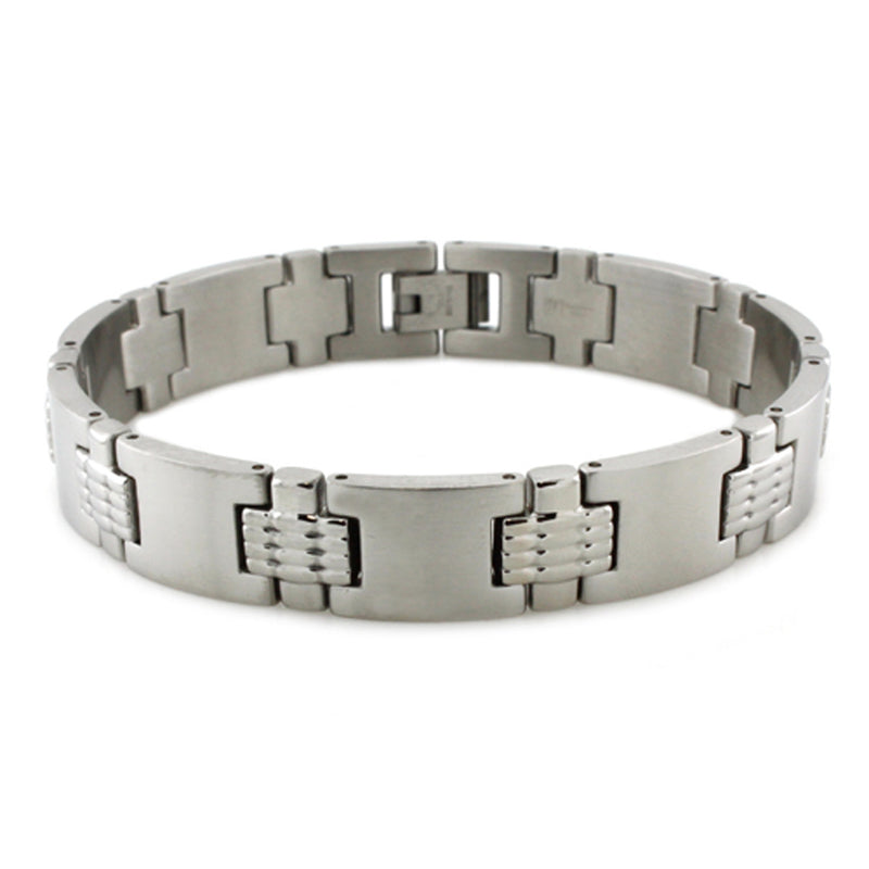 Stainless Steel Ridged Waves Accent Link Bracelet - Tioneer
