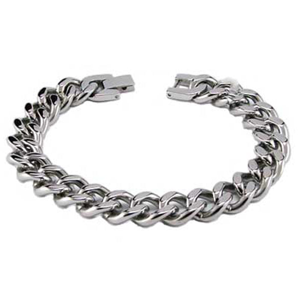 Stainless Steel Classic Curb Chain Link Bracelet - Tioneer