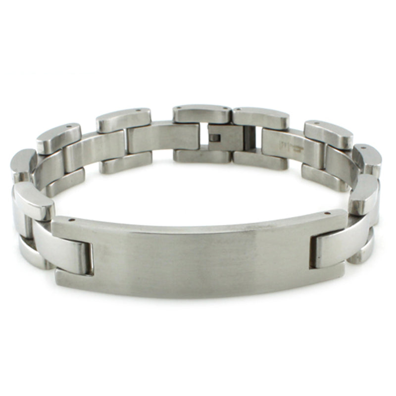 Stainless Steel Satin Finish ID Style Link Bracelet - Tioneer
