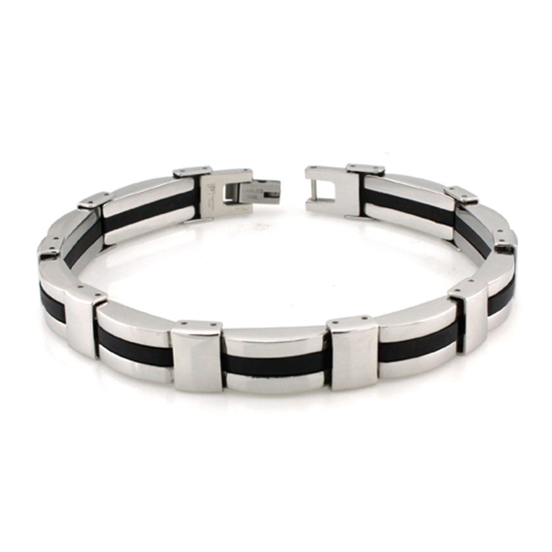 Two-Tone Stainless Steel Rubber Strip Link Bracelet - Tioneer