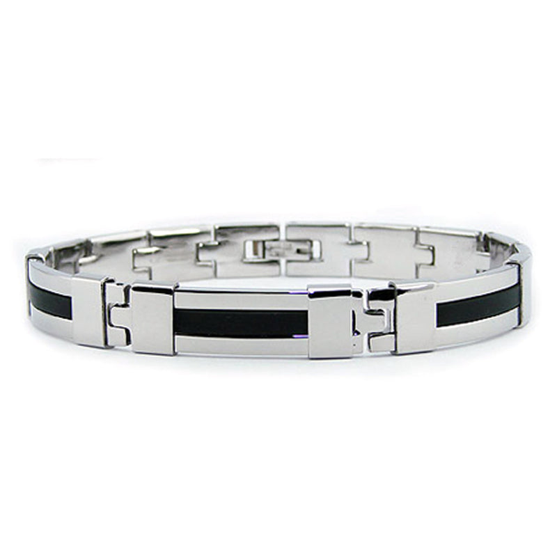 Two-Tone Stainless Steel Black Center Strip Link Bracelet - Tioneer