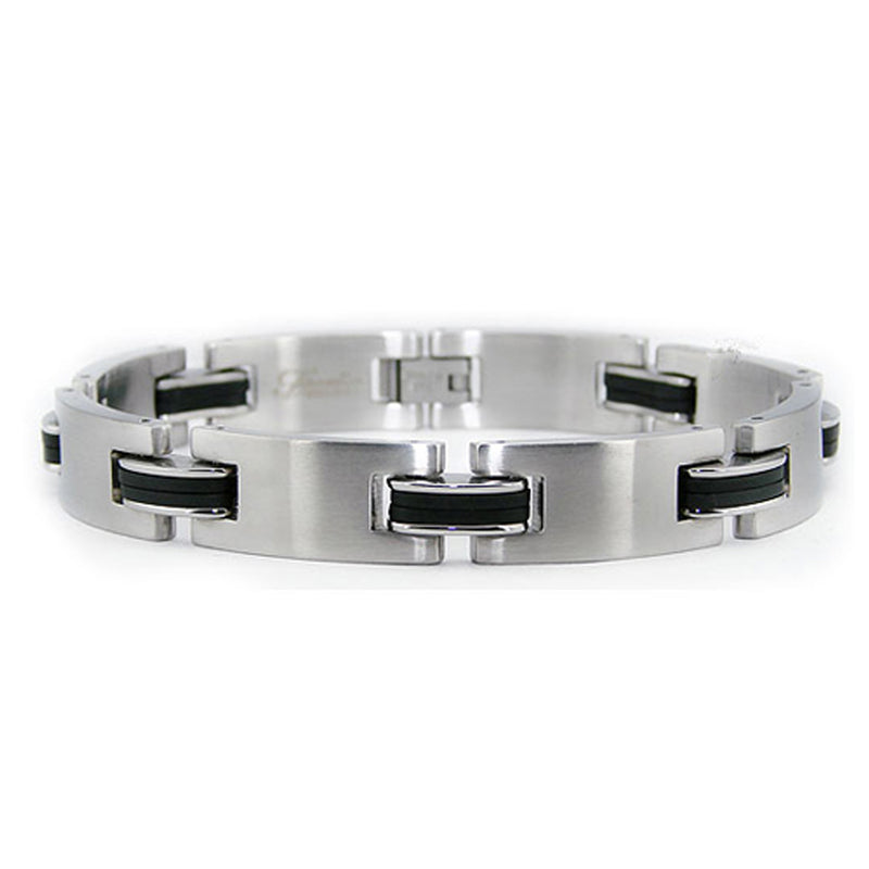 Two-Tone Stainless Steel Classic Polished Biker Link Bracelet - Tioneer