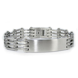 Stainless Steel Brush Finish ID Style Biker Link Bracelet - Tioneer