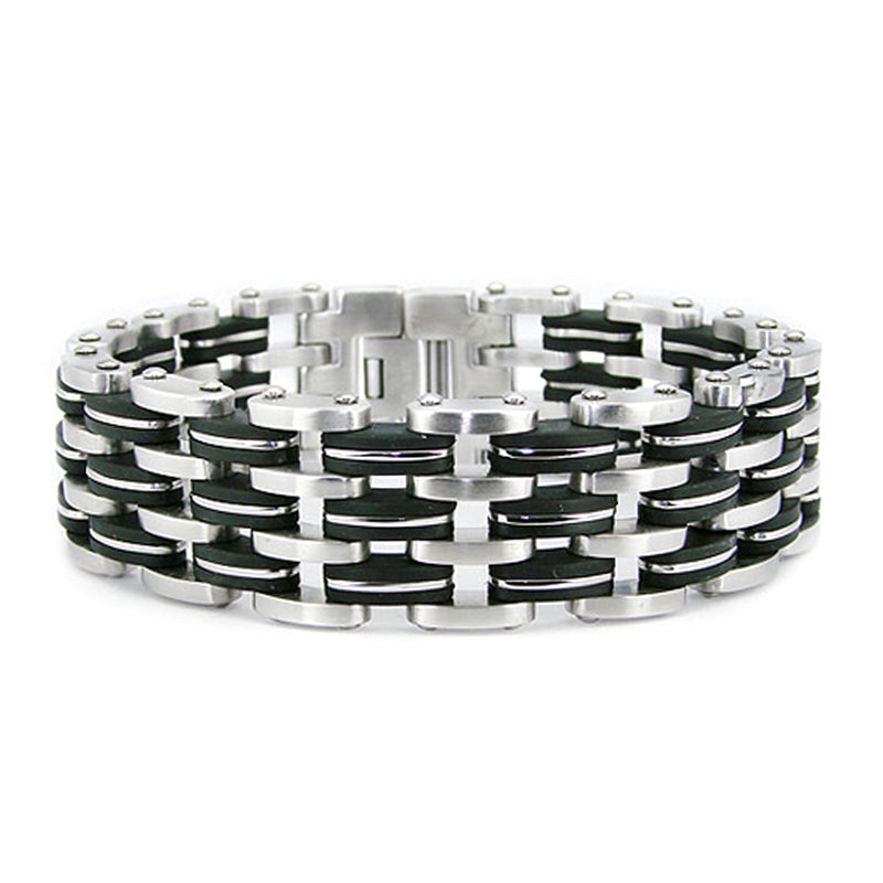 Two-Tone Stainless Steel Wide Layered Biker Link Bracelet - Tioneer