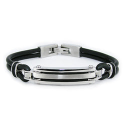 Two-Tone Stainless Steel Rubber Strap ID Bracelet - Tioneer