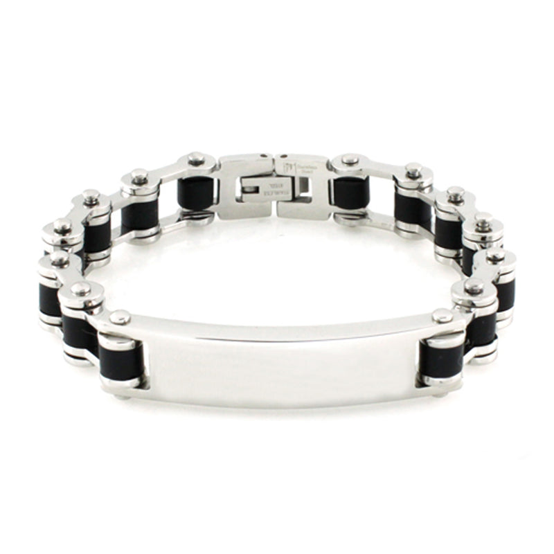 Stainless Steel ID Bike Chain Link Bracelet - Tioneer