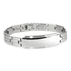 Stainless Steel Classic Polished ID Style Link Bracelet - Tioneer