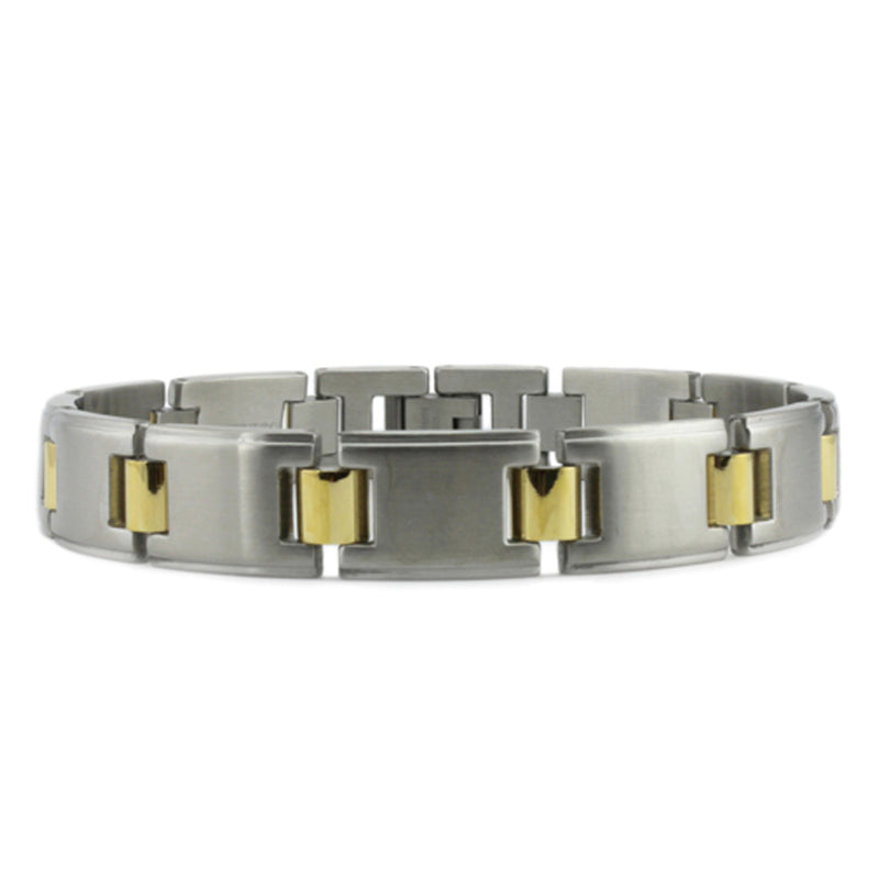 Two-Tone Stainless Steel Gold Accent Link Bracelet - Tioneer