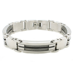 Stainless Steel Cable Inlay Biker Link Bracelet - Tioneer