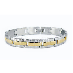 Two-Tone Stainless Steel Gold Plated Grooved Link Bracelet - Tioneer