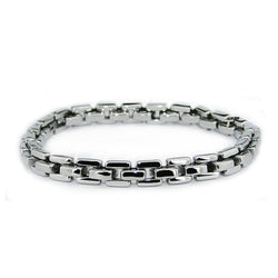 Stainless Steel Square Cable Chain Biker Link Bracelet - Tioneer