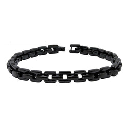 Black Stainless Steel Square Cable Chain Biker Link Bracelet - Tioneer