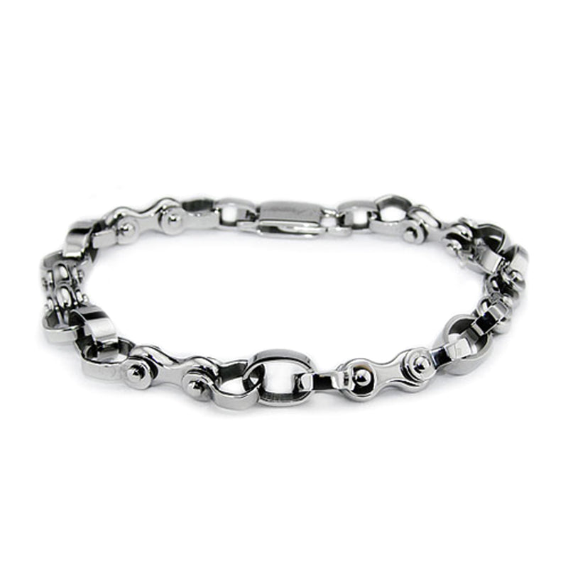 Stainless Steel Bicycle Biker Chain Link Bracelet - Tioneer