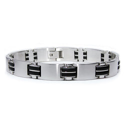 Two-Tone Stainless Steel Black Link Bracelet - Tioneer
