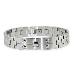 Stainless Steel Screw Accent Link Bracelet - Tioneer