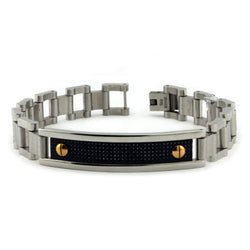 Stainless Steel Carbon Fiber ID Plate Gold Screw Accent Link Bracelet - Tioneer
