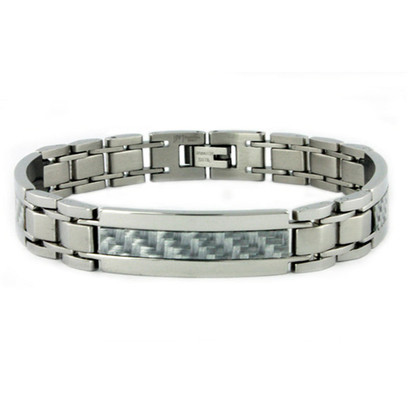 Stainless Steel Double Carbon Fiber Bar Inlay Link Bracelet - Tioneer