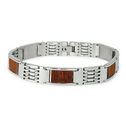 Stainless Steel Wood Inlay Link Bracelet - Tioneer