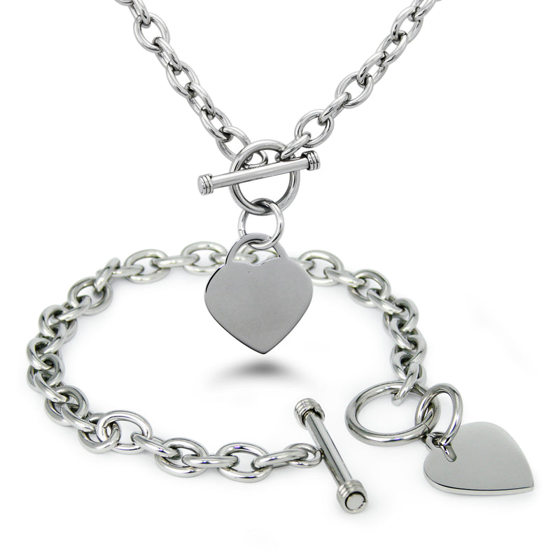 Stainless Steel Engravable Heart Charm Toggle Link Bracelet Necklace Set - Tioneer