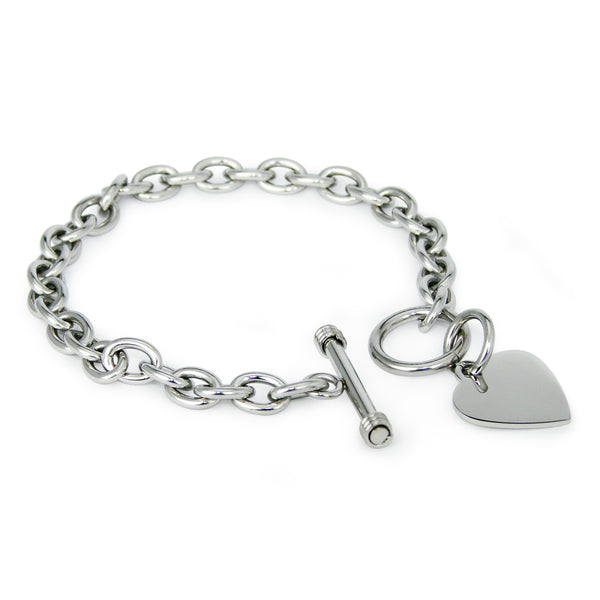 Stainless Steel Engravable Heart Charm Toggle Link Bracelet - Tioneer