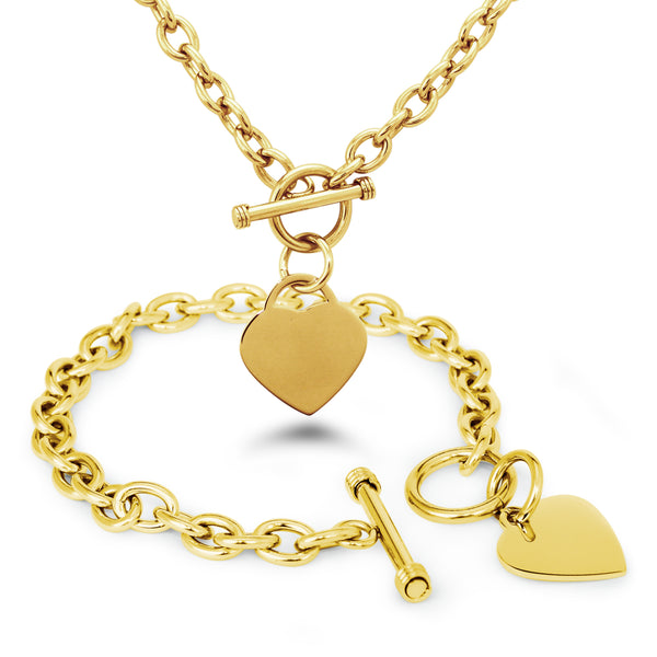 Stainless Steel Engravable Heart Charm Toggle Link Bracelet Necklace Set