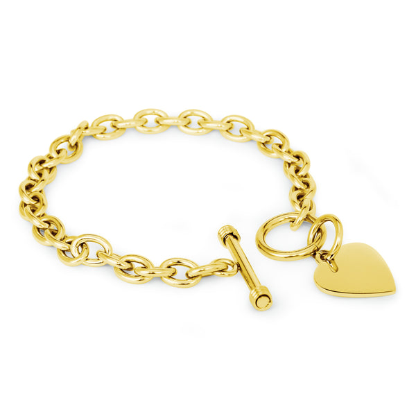 Stainless Steel Engravable Heart Charm Toggle Link Bracelet