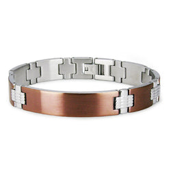 Two-Tone Stainless Steel Brown ID Style Link Bracelet - Tioneer