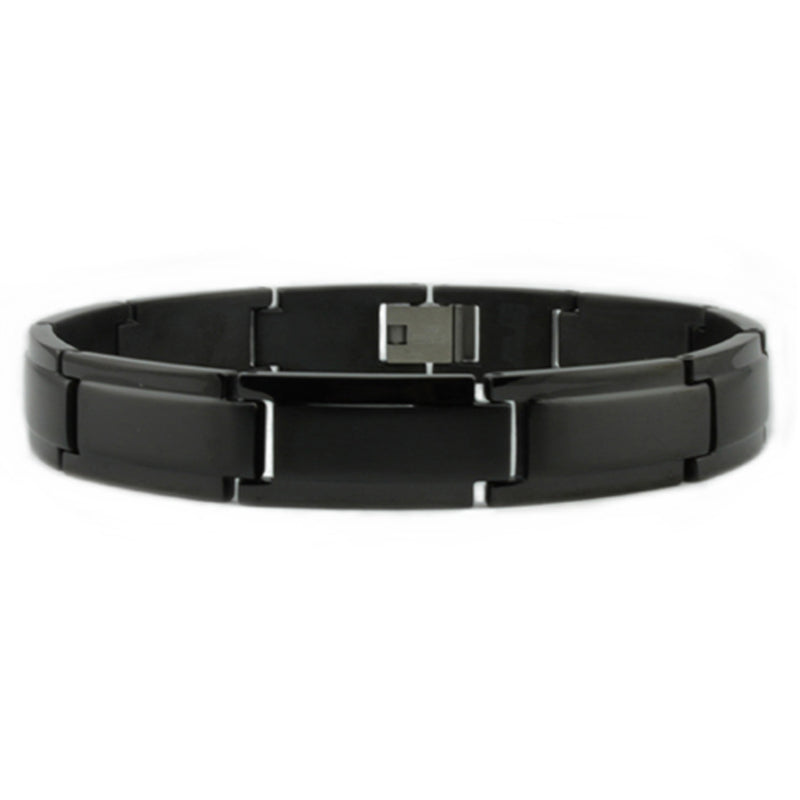 Black Stainless Steel Step-Down Style Link Bracelet - Tioneer